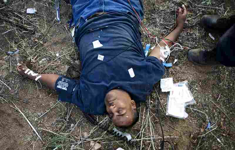 Acevedo Guadalupe-Herrera, 43, from Ahuacatitlan, Guerrero, Mexico, lies unconscious next to a ranch near Green Valley, Ariz., on Aug. 8, after walking for five days with no water. Guadalupe-Herrera was found by a ranch hand and presumed dead, although he recovered with the help of IV fluids.