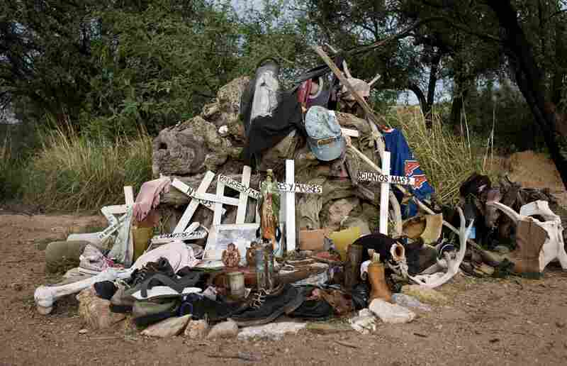 A shrine at the No More Deaths camp in Arivaca, Ariz., in memory of those who have died in the desert