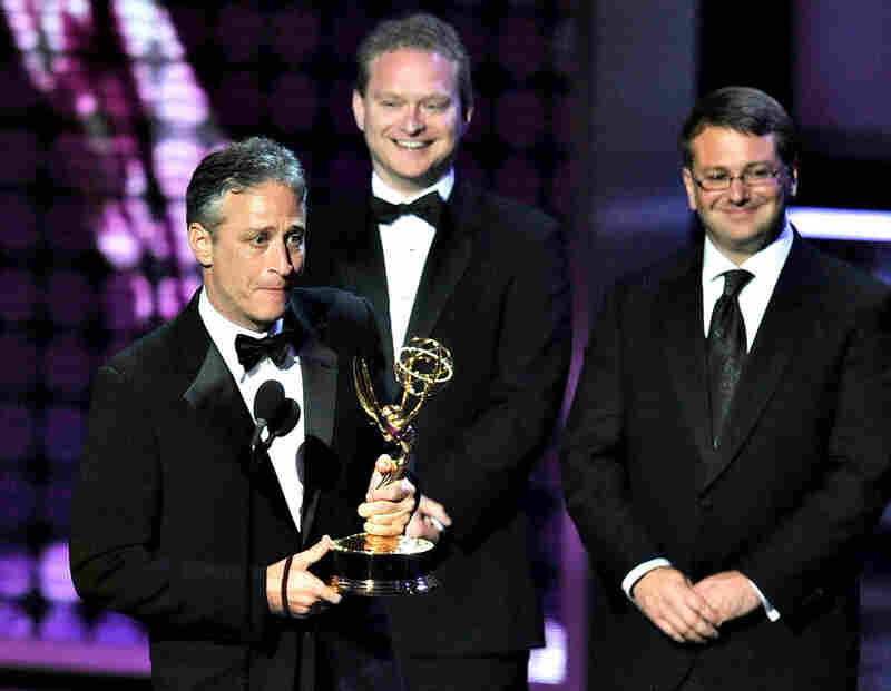 Jon Stewart, host of The Daily Show, accepts the show's seventh-straight win for best variety, music or comedy series.