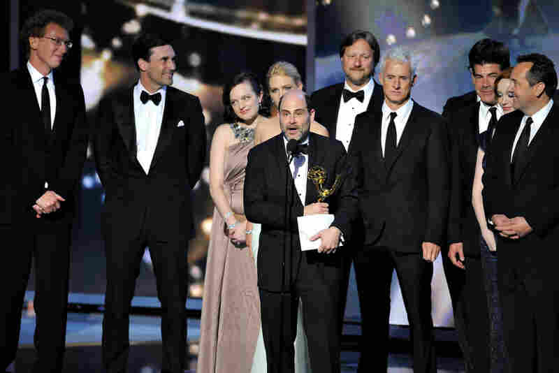 Matthew Weiner, the creator of the AMC series Mad Men, accepts the show's repeat award for best drama series.