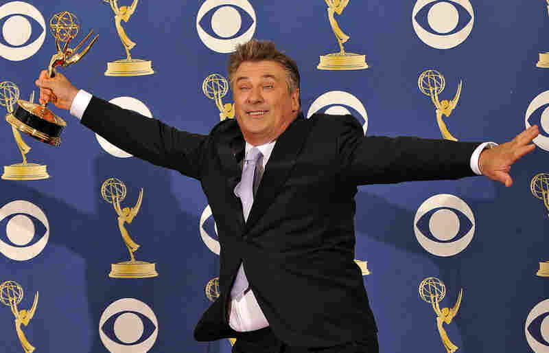 Alec Baldwin, in the press room during the awards ceremony, celebrates his second consecutive Emmy as lead actor in the comedy series 30 Rock.