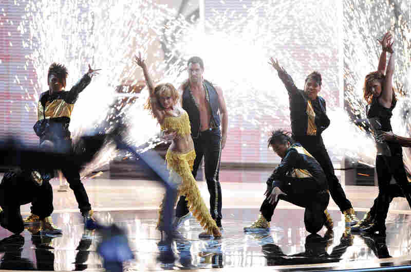 Karina Smirnoff and Maksim Chmerkovskiy perform a tribute to Dancing with the Stars.