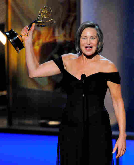 The Emmy for best supporting actress in a drama went to Cherry Jones, for her role as President Taylor in the long-running series 24.