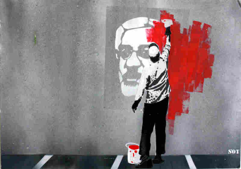 """""""Election"""" by SOT. An image of Iranian politician Mir-Hossein Mousavi Khameni is painted over in red."""
