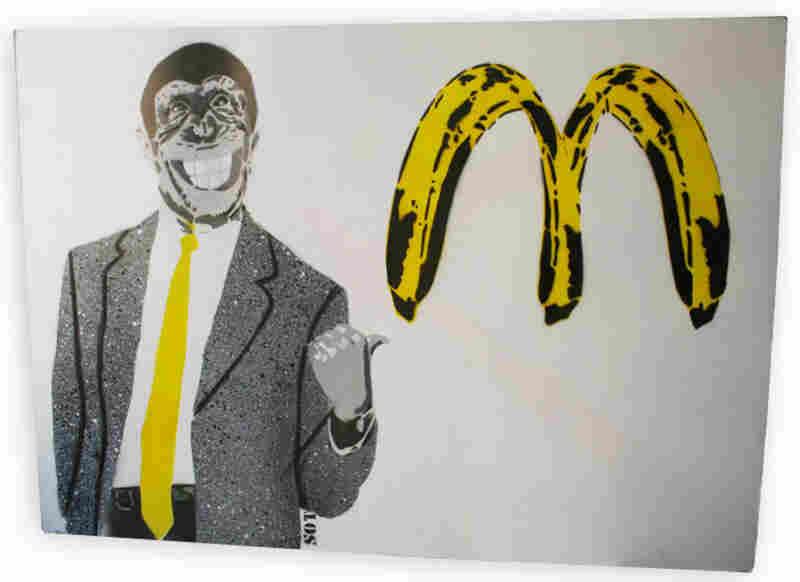 """""""McDonalds"""" by SOT incorporates Andy Warhol's bananas and the McDonalds golden arches."""