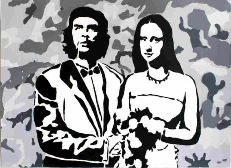 """""""Newlyweds"""" by FRZ shows Che Guevara and Mona Lisa in a posed wedding portrait."""