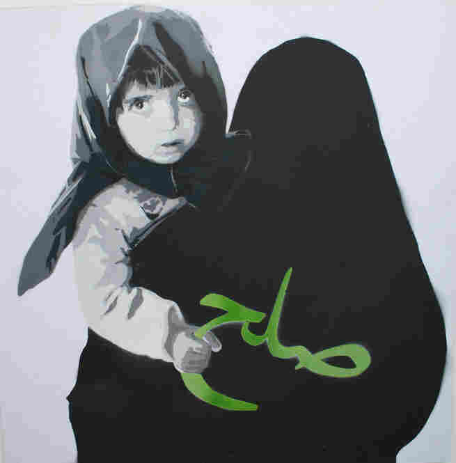 """""""Peace Girl"""" by ICY shows a girl holding the Farsi word for peace in her hand."""