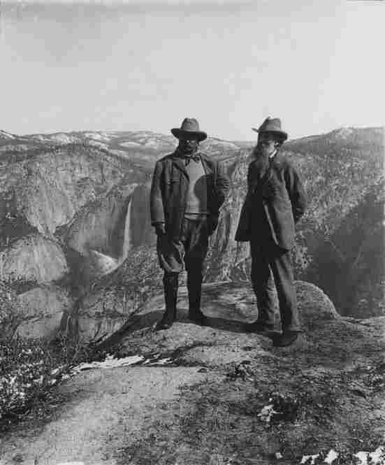 In 1903, Theodore Roosevelt (left) camped in Yosemite with naturalist John Muir (right), who encouraged Roosevelt to make Yosemite Valley part of a larger national park.