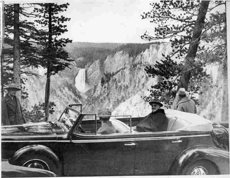 Despite his disability, which confined him to the back seat of his touring car, President Franklin Roosevelt (at Yellowstone) loved to visit national parks.