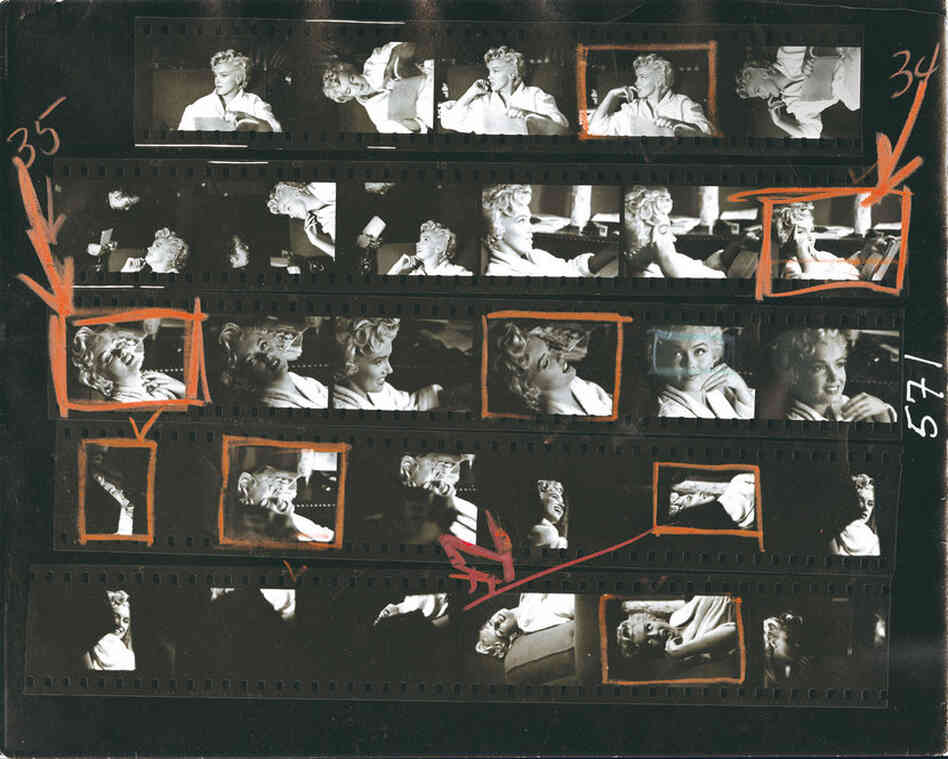 French-born Elliott Erwitt is known for his humorous, lighthearted photographs of children, dogs and celebrities. This contact sheet is from a session with Marilyn Monroe in 1956.