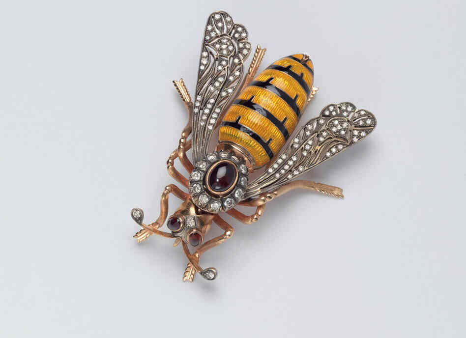 "Bee, Designer Unknown (USA), c. 1980 - Albright often wore pins to reflect her mood.  Wasps were worn on days that she ""wanted to do a little stinging and deliver a tough message."""