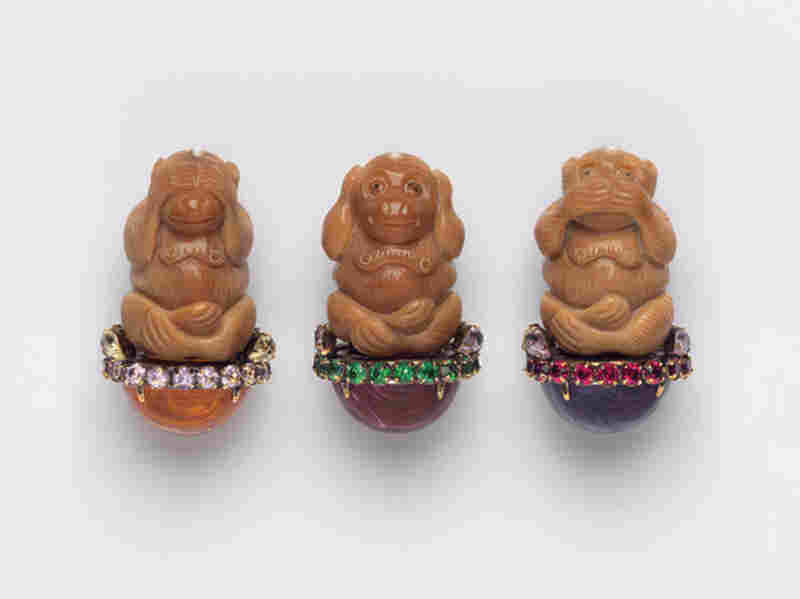 Hear No Evil, Speak No Evil, See No Evil, Iradj Moini (USA), 2000 - Albright first wore this pin in Moscow, for a meeting with then-President Vladimir Putin.  The message was about Chechnya, where she felt the Russians were ignoring the human rights violations they had committed.