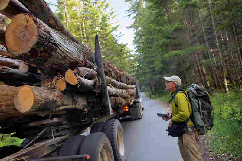Mike Fay is an explorer-in-residence for National Geographic. He recently spent more than a year hiking the entire length of the redwood forest, from the southernmost redwood in Big Sur to the northernmost tree near Oregon's Chetco River. Focusing his research on forest management, he notes the size of a truckload of logs.