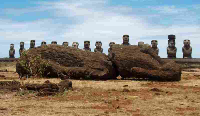 Ahu Tongariki on Easter Island, a Polynesian island in the southeastern Pacific Ocean, has the greatest collection of moai (giant statues).