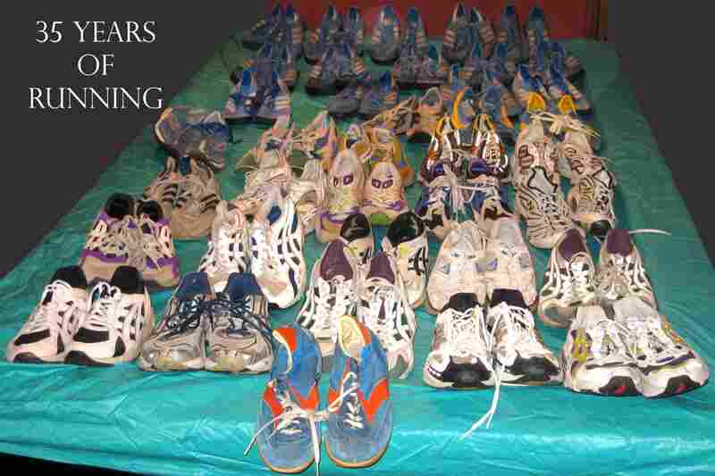 """""""I have never been able to throw a pair of my running shoes away so here you have it. Thirty-plus years of running and front and center are the original Nike Waffle Trainer. At the back, 14 pairs of the Adidas Marathon Trainer. """"  — Johk K. Sauter, Rockbridge, Ohio"""