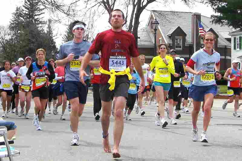 """""""I thought, 'How do I separate myself from the 25,000 other runners running Boston? Wear a costume?' Nope, I kicked it old school and ran on the original sneakers! They were way cheaper, too. """" — Matt Fuxon, Boise, Idaho"""