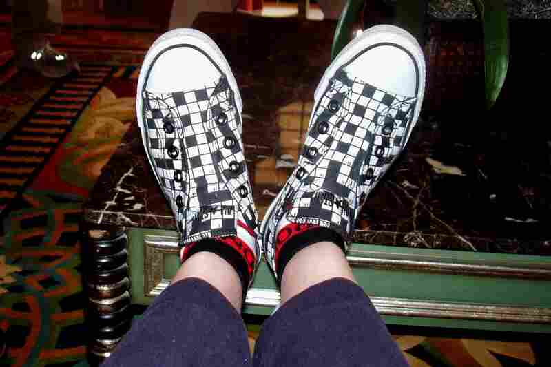 """""""As a crossword fanatic and game collector, this pair practically jumped off the shelf and into my arms!  I love wearing them to gatherings of the Association of Game and Puzzle Collectors. (Will Shortz is a member, but does not own, as far as I know, a pair of these)."""" — Helen S. Andrews, West of Boston, Mass."""