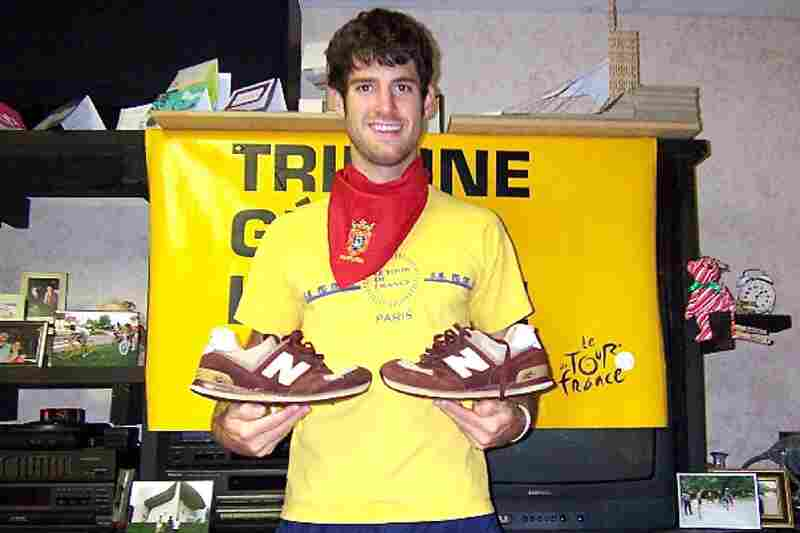 """""""These sneakers ran with (or should I say from) the bulls during San Fermin festival in Pamplona, Spain (bandana in photo was worn while running); climbed trees in order to see over the crowd in Joigny, France on the seventh stage of the 2007 Tour de France, and witnessed one of Italy's most famed fireworks shows in Venice."""" — Scott Brelsford, Hendersonville, Tenn."""