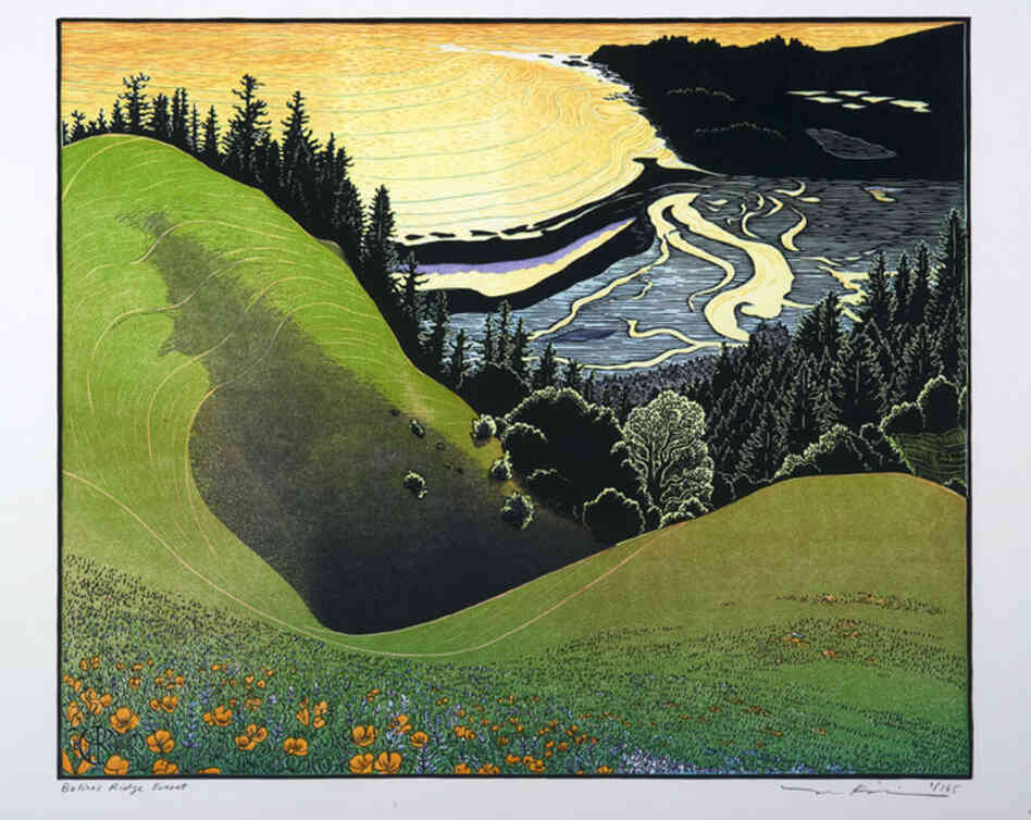 Printmaker and book artist Tom Killion's work is inspired in part by traditional Japanese woodblock printing. Bolinas Ridge, 2009