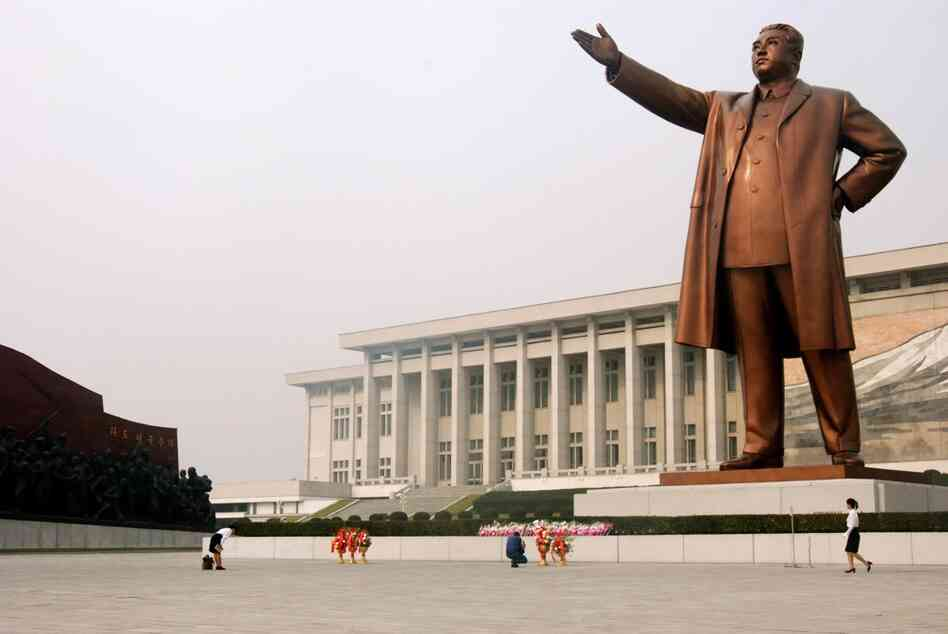 In Pyongyang, the North Korean capital, monuments to the country's founder, Kim Il Sung, are everywhere. Here, North Koreans pay their respects to a 60-foot bronze statue on Mansu Hill.