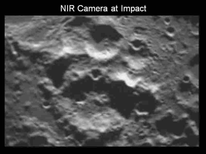 LCROSS impact crater as seen with the near infrared camera.