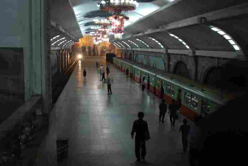 Pyongyang's metro system is the deepest in the world and was purportedly built to double as a bomb shelter. Foreign tourists are only allowed to travel between Puhung Station, seen here, and Yanggwang Station.