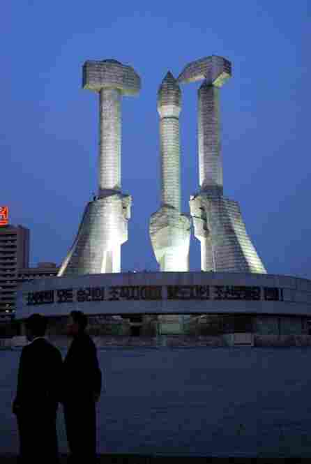 The Monument to the Korean Workers Party was built in 1995 to commemorate the founding of North Korea's only political party. The hammer symbolizes the triumph of workers, the sickle is for the peasants, and the brush for intellectuals.