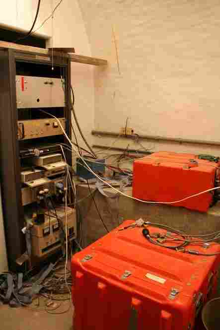 Orange boxes contain computers that transmit data about seismic events. Many of the computers are 10 to 20 years old. In September, the Obama administration announced $5 million in stimulus funds to update and replace the machines. The new computers will shave five seconds off the time it takes to deliver an earthquake warning.