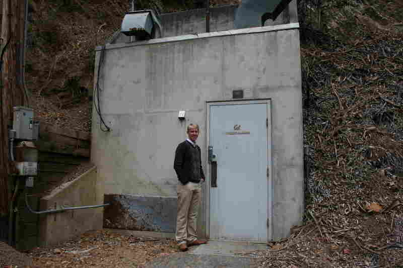 Richard Allen stands outside the entrance to a seismic monitoring station in the hills of Berkeley, Calif. Like many similar sites across the state, this vault was built during the Cold War to house instruments that could detect nuclear bomb tests around the world.