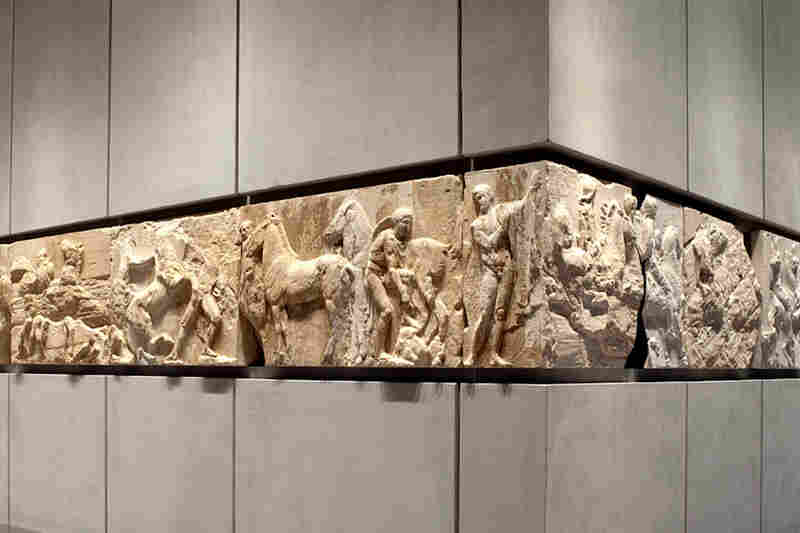 A portion of the Parthenon's frieze on display in Athens.  Other portions of the frieze are on display at the British Museum.