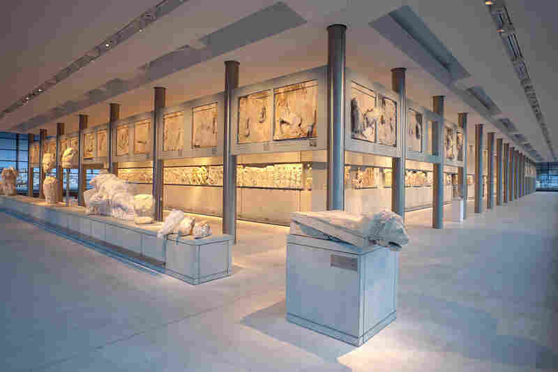 A view of the Parthenon Gallery in the new museum. Some of the items on display are plaster casts of items currently held in the British Museum's collection.