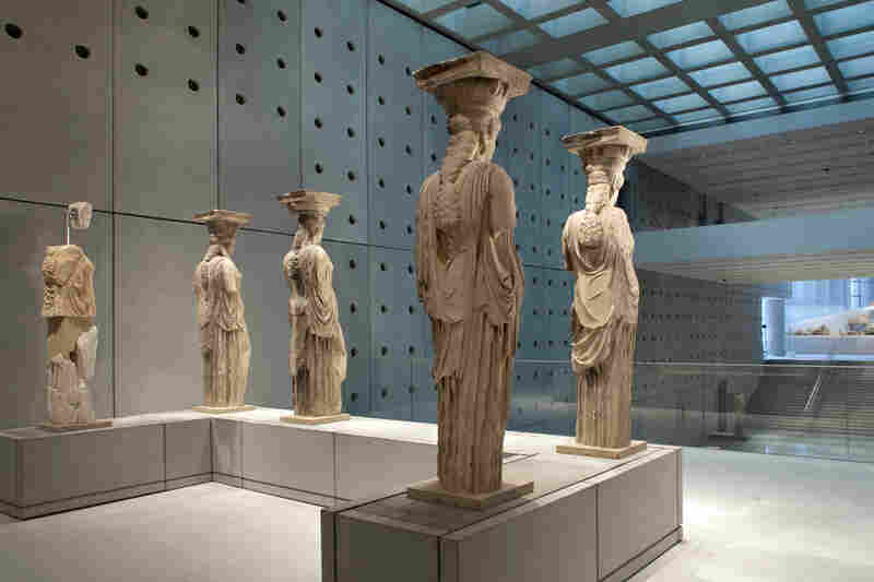 The Caryatids from the Erechtheion are sculpted female figures that served as architectural supports for the temple.