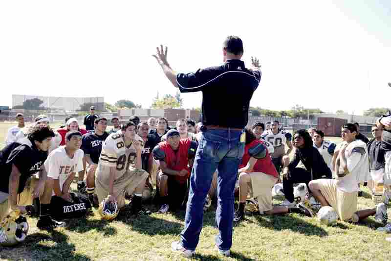 Visger talks to football players at his alma mater, Stagg High in Stockton, Calif., about success on the field and in the classroom.