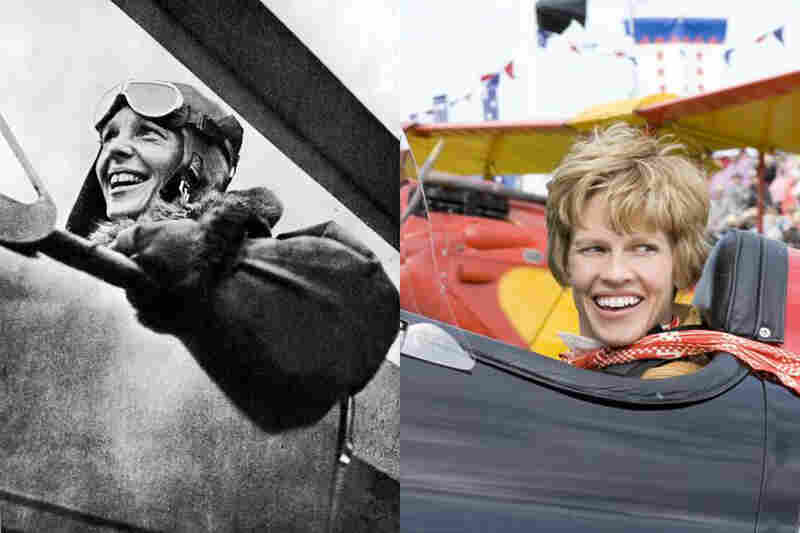 Hilary Swank's resemblance to aviator Amelia Earhart (left) is a prime — and perhaps the only — selling point of Mira Nair's new biopic Amelia. Click through for a gallery of more historical figures and the look-alike (or not-alike) actors who've played them.