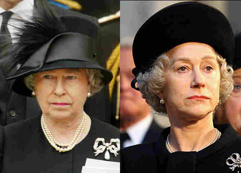Look-Alikes: Queen Elizabeth II (left) and Helen Mirren (right) as Her Majesty in 2006's The Queen. Mirren's appearance was so authentically regal that on the set, the crew started standing straighter in her presence and folding their hands behind their backs when speaking to her.