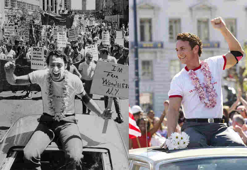 Look-Alikes: Politician Harvey Milk (left), Sean Penn as Harvey Milk in the 2008 film Milk (right). Penn sported a redesigned hairline, a prosthetic nose and a new set of teeth to play the gay activist.