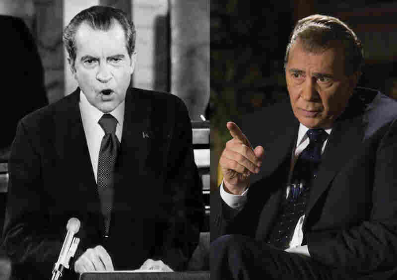 "Sorta-Like? Frank Langella (right) may not have looked much like Richard Nixon (left) in the 2008 film Frost/Nixon, but his habit of staying in character on the set had members of the cast and crew referring to him as ""Mr. President."""