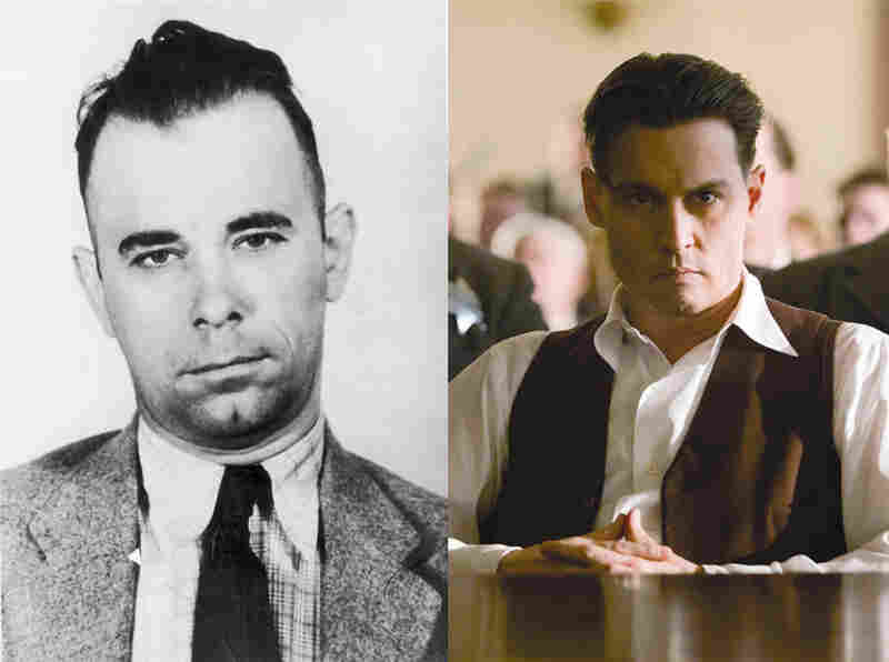 Not-A-Bit-Alike: Filmmakers didn't even try to make Johnny Depp (right) look like gangster John Dillinger (left) in the 2009 film Public Enemies. Then again, would you have?