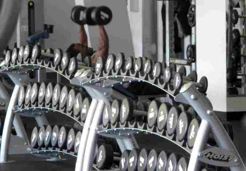 Dumbbells are laid out in pretty rows for easy access at the upscale gym,  Results.