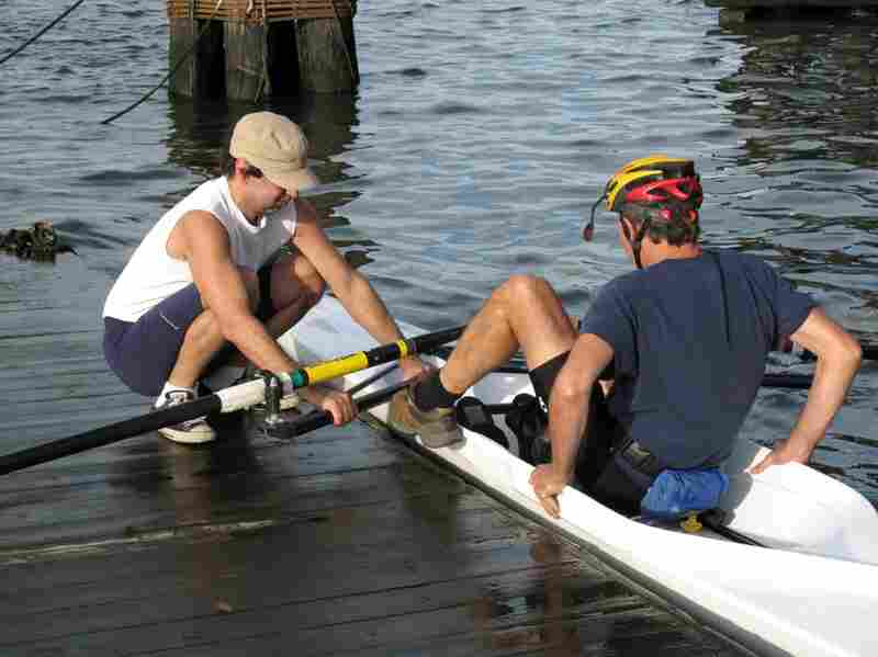 Cumella likes to talk to people about sculling and invites Thomas to go out onto the water himself.