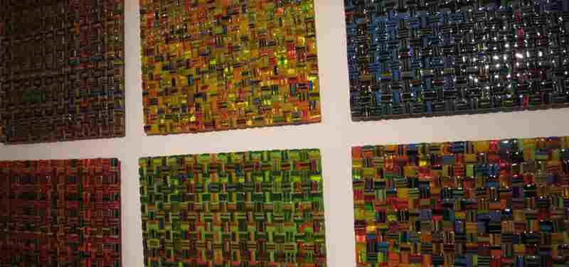 """The process involves creating """"cane"""", or """"colorbars,"""" which gives a weaved appearance. Some pieces contain up to 13 colors."""