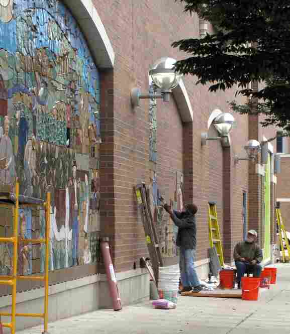 Artists Judith and Tulio won a nationwide competition to install their tile mural on a busy street in Rockville, MD.