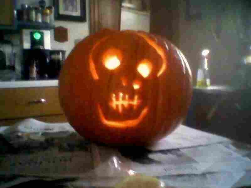 Skull pumpkin. (The average American by the time the Health Care Reform Bill passes.) Submitted by Annemarie S. Ferguson.