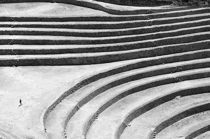 Circular stone terraces built by Incas for agricultural research