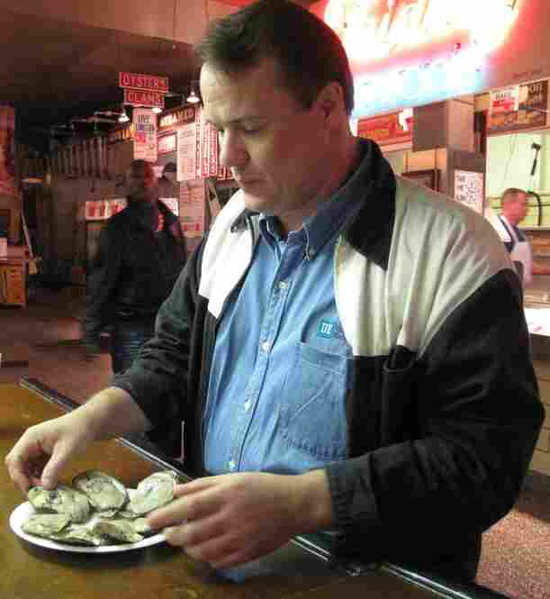 Fresh oysters are shucked-to-order at Faidley's Seafood.