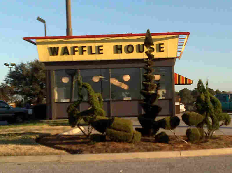 Fryar gets free meals in exchange for trimming sculptures in front of this Waffle House in Bishopville, S.C. He's known to visit four or five times a day.