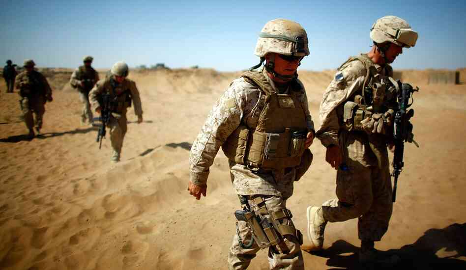 Brig. Gen. Larry Nicholson, commander of the 2nd Marine Expeditionary Brigade, approaches Patrol Base Lakhari in southern Afghanistan's Helmand province.