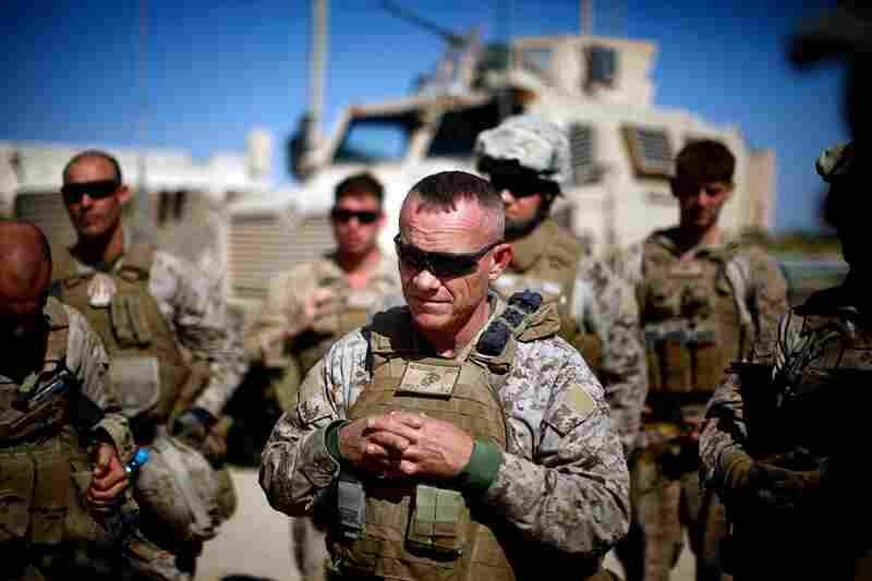 "Nicholson urges Marines to reach out to the local population in the area of Helmand province known as the ""snake's head."""