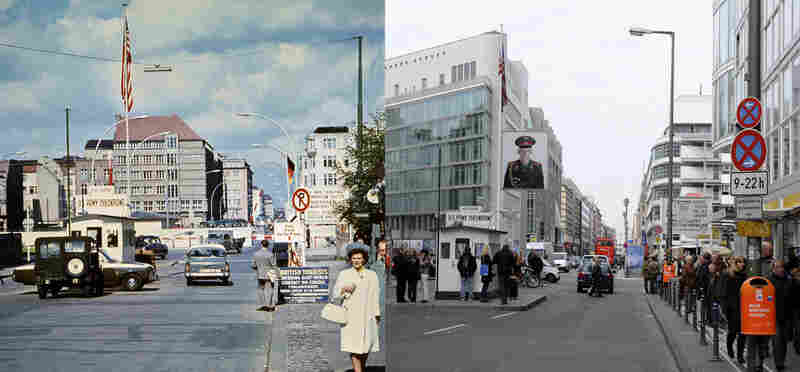 Checkpoint Charlie shown in June 1968 (left) and October 2009 (right). During the Cold War, it was the main border crossing between East and West Berlin; today the historic site is a popular shopping district and tourist attraction.