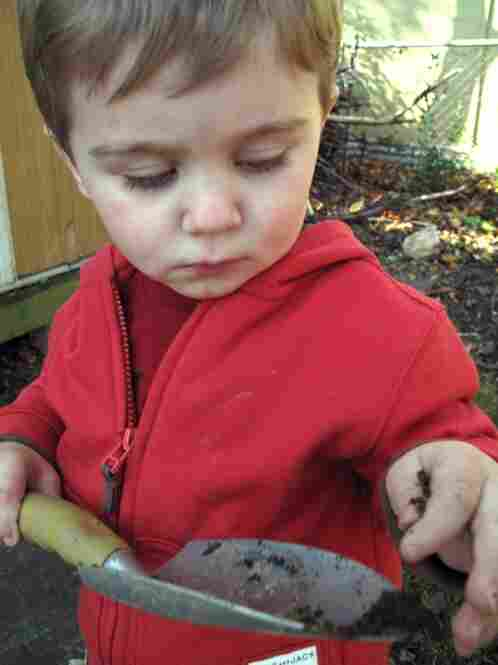 During a brief time out from raking, Ian picks up a gardening shovel...